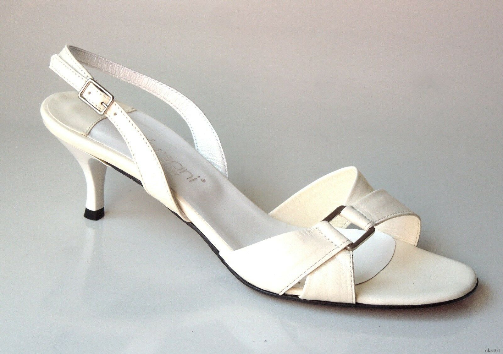 NEU Versani 922 ivory Leder open-toe slingback Sandale Schuhes made in