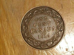 Canada-1914-Large-Cent-coin-Very-Fine-nice