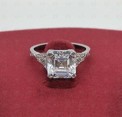 Art Deco Vintage Asscher Cut White Diamond Antique Engagement Ring 925 Silver CA
