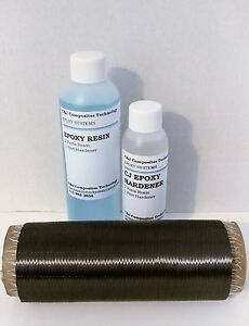 """Carbon Fiber Uni Kit for added stiffness 6"""" cloth with epoxy resin"""