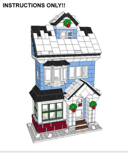 Victorian House Cottage Lego Custom Winter Village INSTRUCTIONS ONLY Holiday
