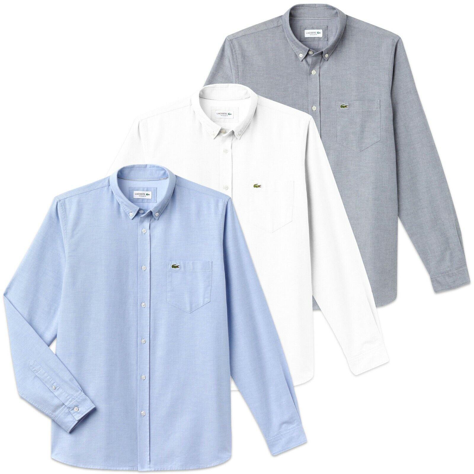 Lacoste Camicia - CH4976 Cotone Oxford - Navy,Bianco,Cielo - Nuovo con Etichetta