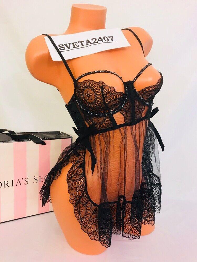358 Victoria's Secret Designer Collection Eyelet Swarovski Sexy Babydoll Sz 32D