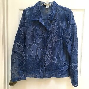 Bamboo-Traders-Blue-Floral-Burnout-Sheer-Button-Front-Blouse-size-Large