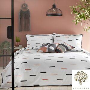 Appletree-TENLEY-Duvet-Cover-Bedding-Set-White-Black-Coral-Reversible-Cotton
