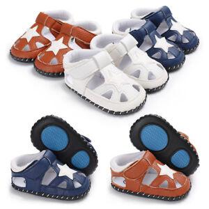 GIFT Baby Boy Pram Shoes Infant Soft Sole Summer Sandals PreWalker Trainers 0-18