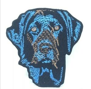 Blue-Labrador-dog-animal-badge-Embroidered-Iron-Sew-on-Patch-j644
