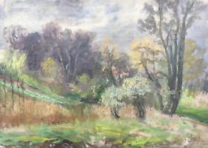 Oil-Painting-Naturalist-Johan-Hansen-Landscape-With-Blossom-47-x-66