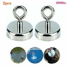 2pcs 200lbs Neodymium Fishing Magnets Pulling Force Strong Round Rare Earth Us
