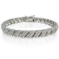 1/10ct TDW Diamond Fancy Tennis Bracelet in Silver Plated Brass