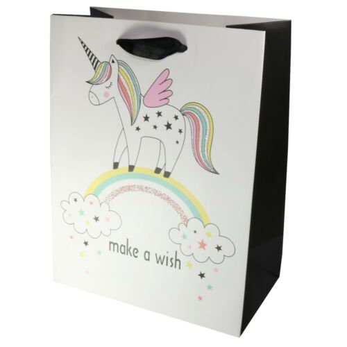 Quality Card Black /& White Unicorn Birthday Party Gift Present Bag 23 cm Small