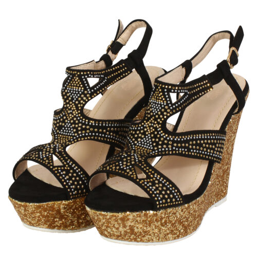 Women/'s Diamonted Ladies Sandals High Cork Heel Wedge Summer Holiday Girl Shoes