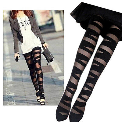 Women Girls Pretty Sexy Pantyhose Lady Black Ripped Tights Mock Stocking NEW