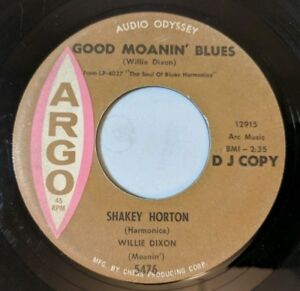 Shakey-Horton-Good-Moanin-Blues-Groove-Walk-45-ARGO-Promo-Harmonica-Blues-VG