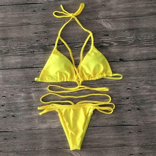 Womens Bikini Halter Swimwear Cross Bandage Swimsuit Push Up Beach Bathing Suits