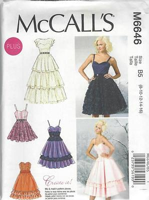 McCALL'S SEWING PATTERN MISSES' / WOMEN'S EVENING DRESSES SIZES 8 - 24W M6646