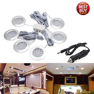 6Pcs-12V-LED-Interior-Dome-Ceiling-White-Light-Fit-RV-Boats-Camper-Car-Charger