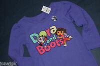 Baby Gap Girls 12 18 Mo. Ls T Shirt Top Purple W/ Nick Jr. Dora & Boots