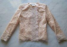 Christian Dior Vintage Women's Lace & Beaded Blazer Jacket - Pink - 4 EUC