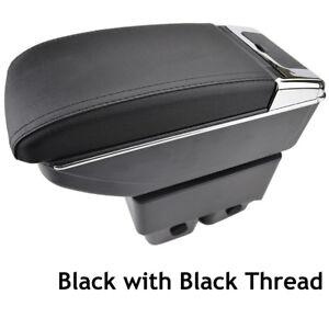 Resto-del-brazo-Consola-Central-Negro-Apoyabrazos-Caja-de-almacenamiento-para-Ford-Fiesta-Mk7-09-17