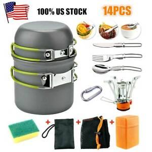 14PCS Camping Cookware 2-3 People Bowl Pot Pan Sets Outdoor Cooking Utensils