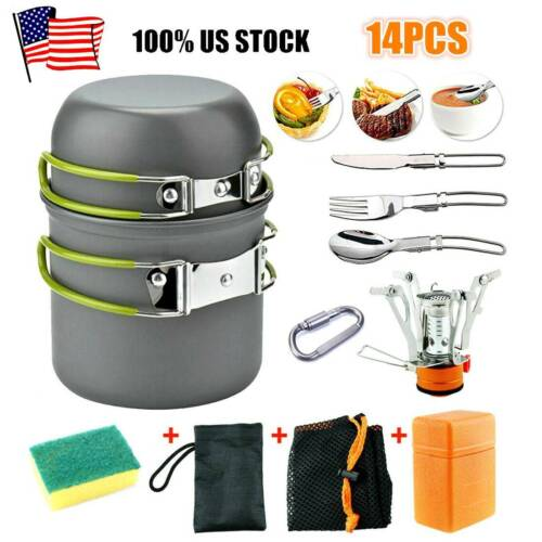 14pcs Portable Outdoor Camping Cookware Backpacking Hiking Cooking Equipment Set