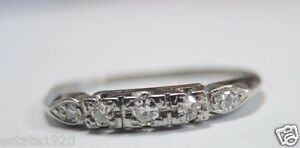 Antique-Art-Deco-Vintage-Diamond-Wedding-Band-Platinum-Rg-Sz-9-UK-R1-2-EGL-USA