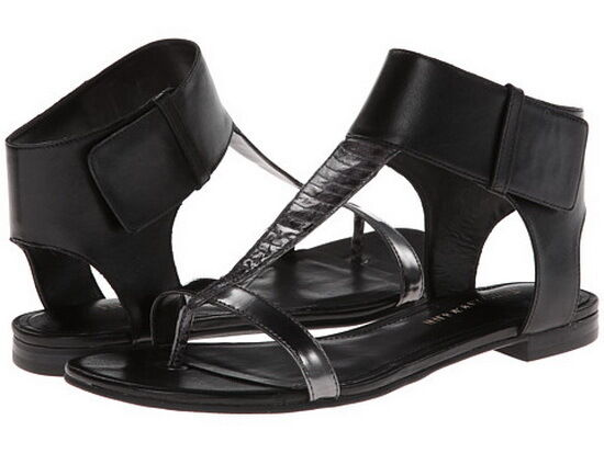 New Enzo Angiolini  Women's Eatilah Black 2 Leather Flat Sandals