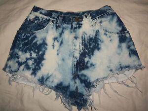 WRANGLER-VTG-USA-M-Bleach-Denim-Western-High-Waisted-Cut-Off-Jeans-Shorts-W26