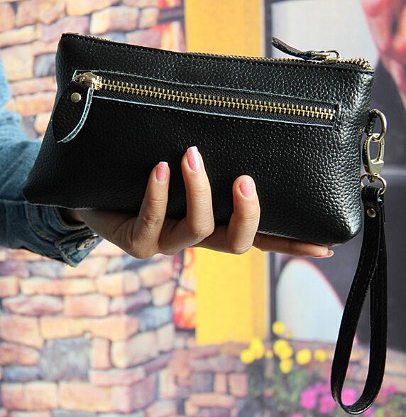Women's Real Leather Wristlet Zip Wallets Lady Black Clutch Handbag Coin Pocket