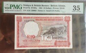 MALAYA 1961 $10 BUFFALO A/31 120802 PMG35