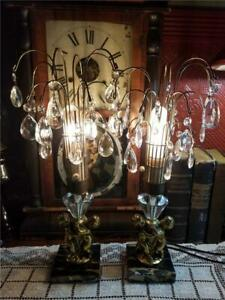 Pair-Vtg-MCM-Hollywood-Regency-Marble-Cherub-Crystal-Fountain-Shabby-Table-Lamps