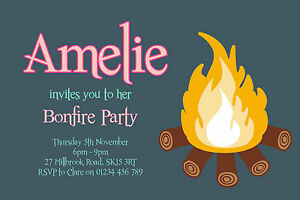 Details About 10 PERSONALISED BONFIRE NIGHT PARTY INVITATIONS
