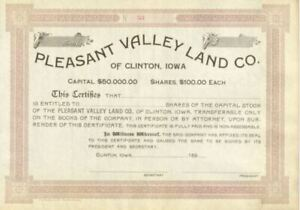 Pleasant-Valley-Land-Co-of-Clinton-Iowa-stock-certificate-share