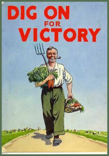 Men/'s Ladies T SHIRT retro WW2 advert Dig on for Victory garden Britain food