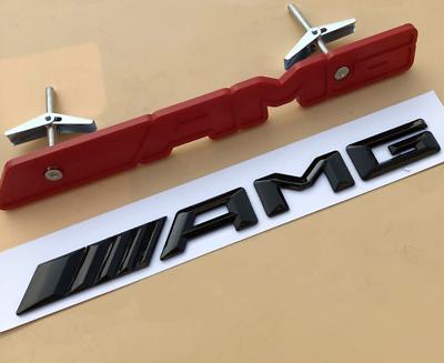 AMG Dark Red Badge Front Bumper Grill Emblem for Mercedes Benz C-Class C63 W205