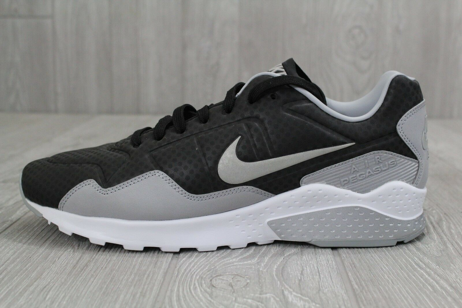 25 New Uomo Nike Pegasus 92 Premium Nero Silver Grey Shoes Sz 9 844654-003
