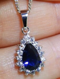 Sapphire-Diamond-Cluster-Pendant-925-Sterling-Silver-Pear-18-034-Chain-Necklace