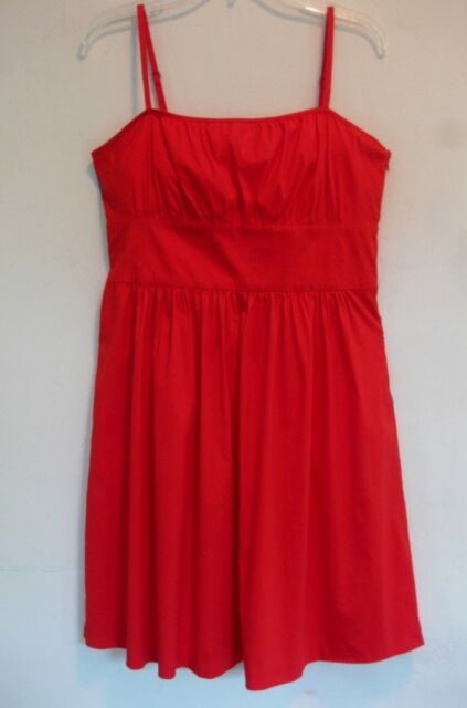 Theory dress 10 Cotton bl Red Sleeveless Spaghetti strap Resort Light Sundress