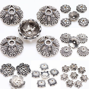 Lots 15/25/100Pc Tibet Silver Flower Loose Spacer Bead Caps Jewelry Findings DIY