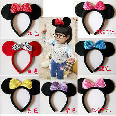 Disney Party Baby kids Minnie Mouse Ears Costume Girls Pink HeadBand Head Band