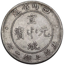 """1909 China Szechuan Silver Dragon $1 Coin VF/XF L&M 352 """"Inverted A"""" Y-243 Rare"""
