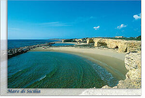 CARTOLINA-SICILIA-CIRIGA-ISPICA-SPIAGGIA-MARE-SEA-BEACH-SICILY-POSTCARD