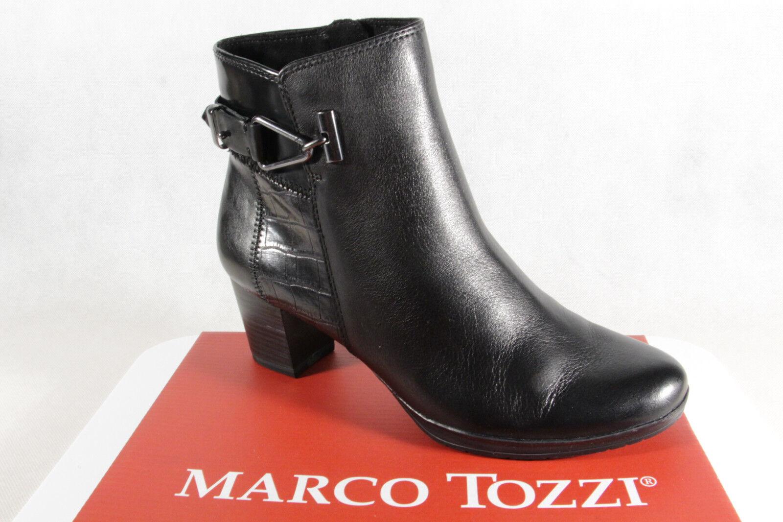 Marco Tozzi Stiefelette Stiefel, schwarz, Leder 25385  NEU