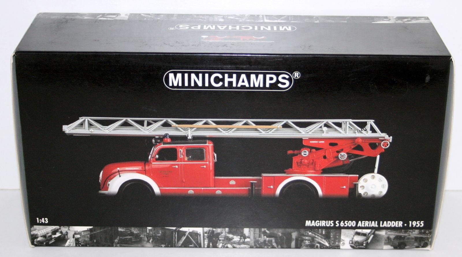 buena calidad MINICHAMPS 1 43 - 439 140071 MAGIRUS S 6500 AERIAL AERIAL AERIAL LADDER   rojo blanco 1955  ganancia cero