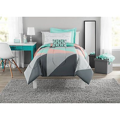 Mainstays Gray And Teal Twin Twin Xl Size Bed In A Bag