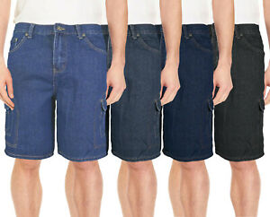 Men-039-s-Denim-Multi-Pocket-Casual-Cargo-Slim-Fit-Zip-Fly-Cotton-Jeans-Shorts