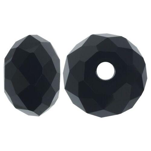 Checa cristal perlas 6x8mm rondell jet negro joyas fabricación x132