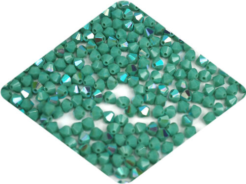 Rondell//Diamond opaque Czech MC Glass Bicone Beads Green Turquoise AB coated