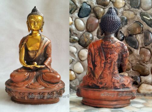 antique Sheet metal old bronze carved Amitabha statue Buddha dragon